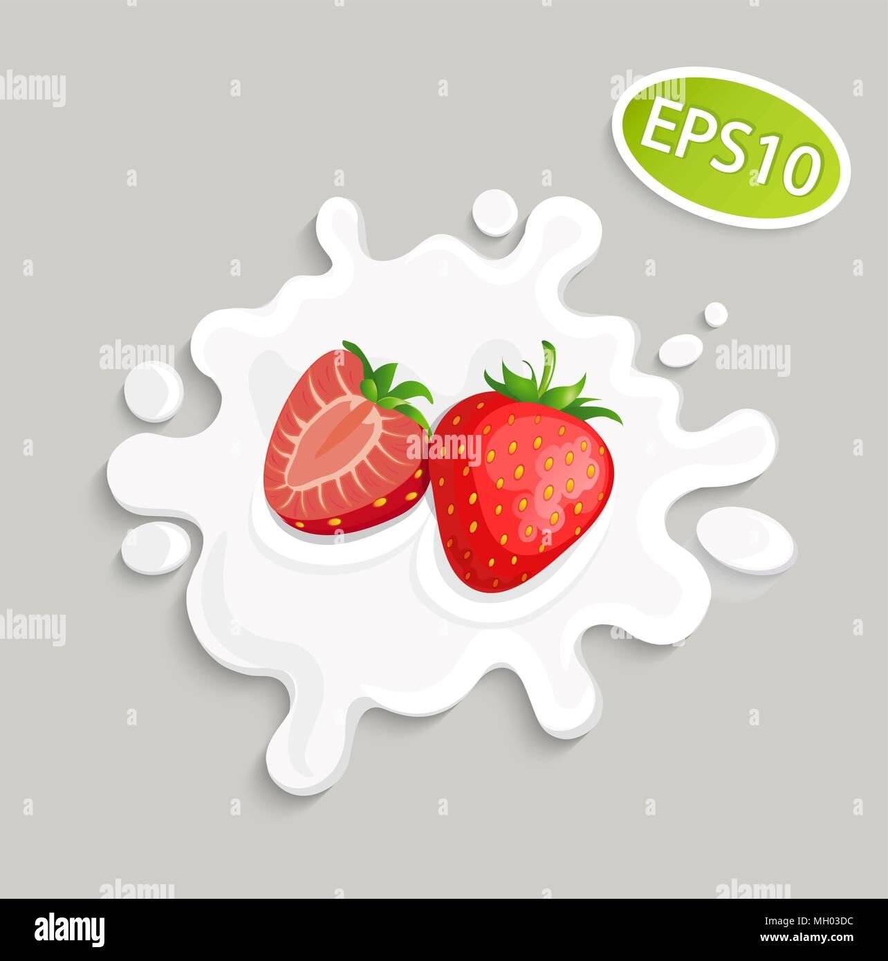 Salpicaduras de leche con sabor a fresa para logo, plantilla ...