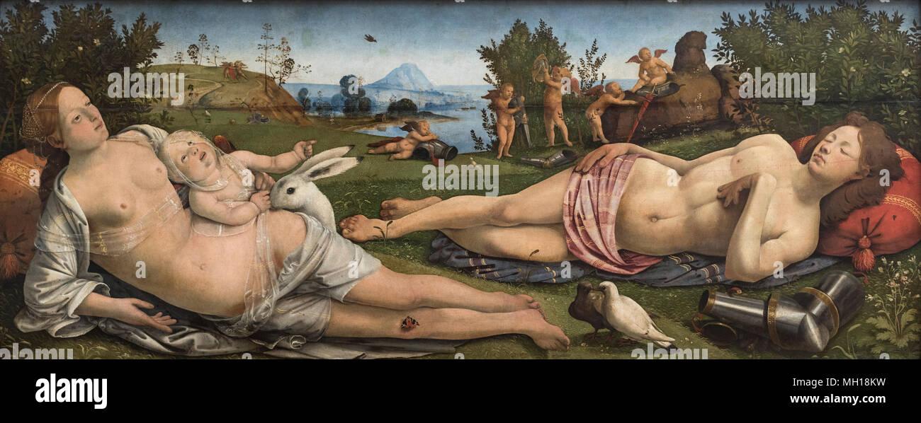 Piero di Cosimo (1461/62-1522), Venus y Cupido, ca. 1505. Venus, Marte und Amor. Imagen De Stock
