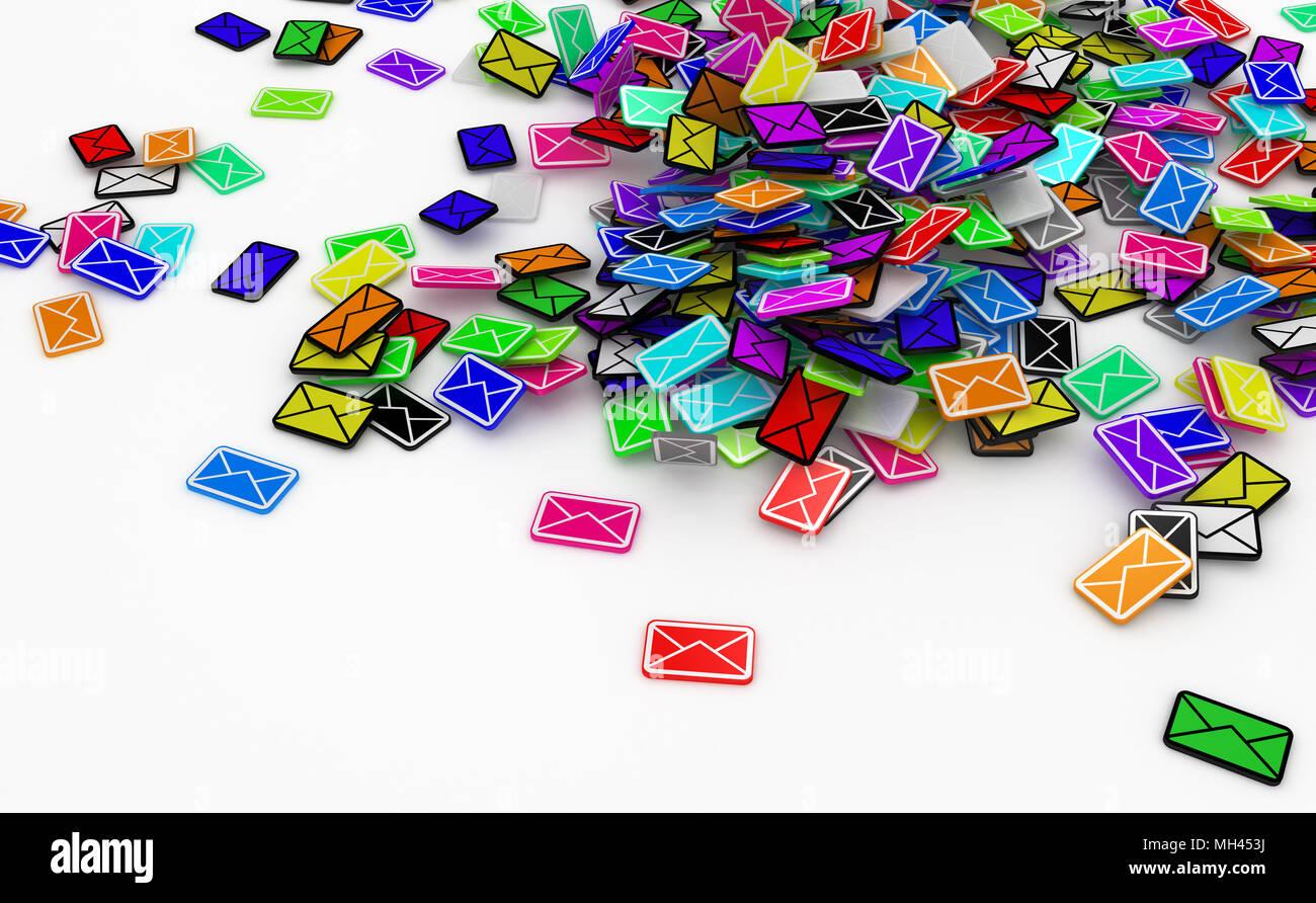 Muchos pequeños símbolos de mensaje de correo electrónico en 3D, aislado Foto de stock