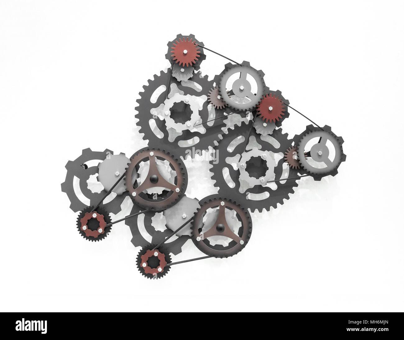 Conjunto de engranaje y rueda de diente, el trabajo en equipo concepto de negocio Imagen De Stock