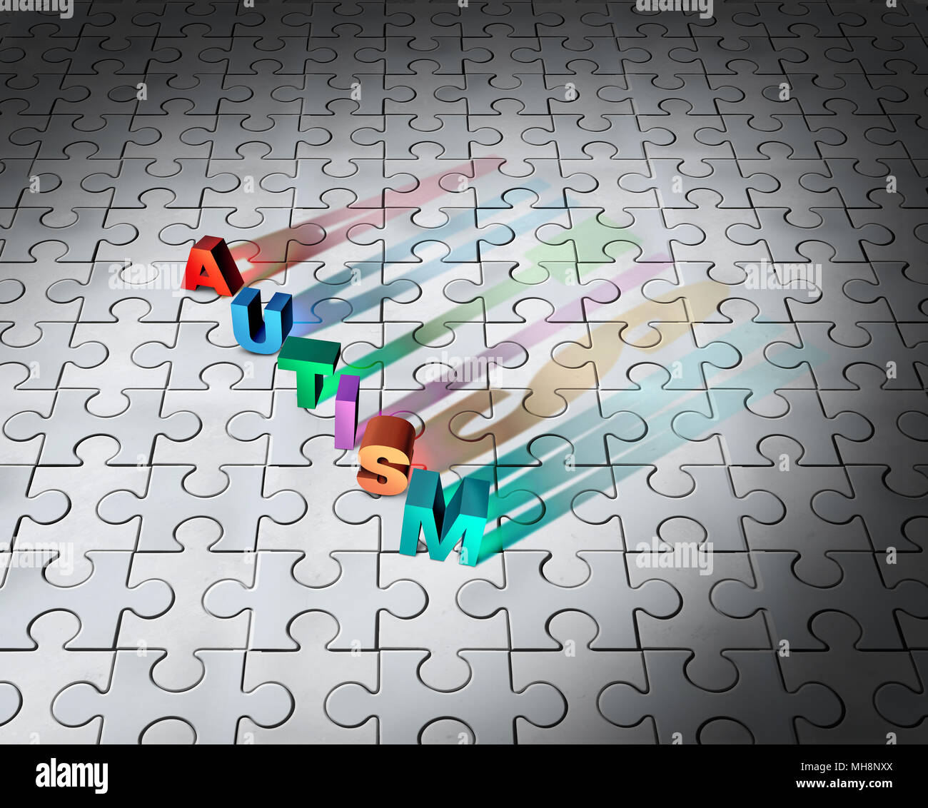 Puzzle de autismo infantil y el trastorno del desarrollo jigsaw fondo abstracto como un símbolo de la conciencia como autista ilustración 3D. Imagen De Stock