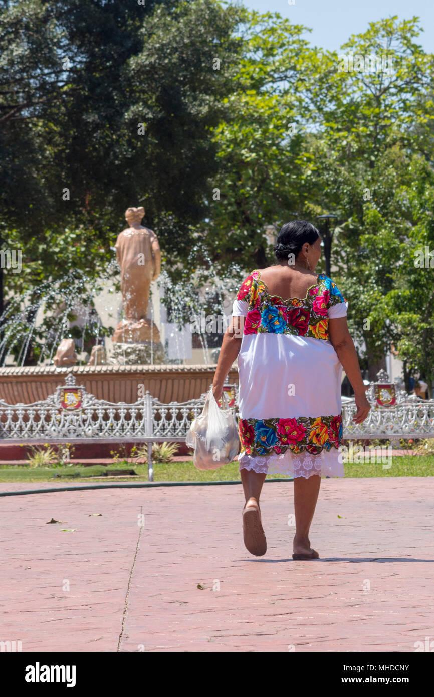 a84efa134c Madre mexicana regresa a su casa en el mercado. Su traje típico llamado
