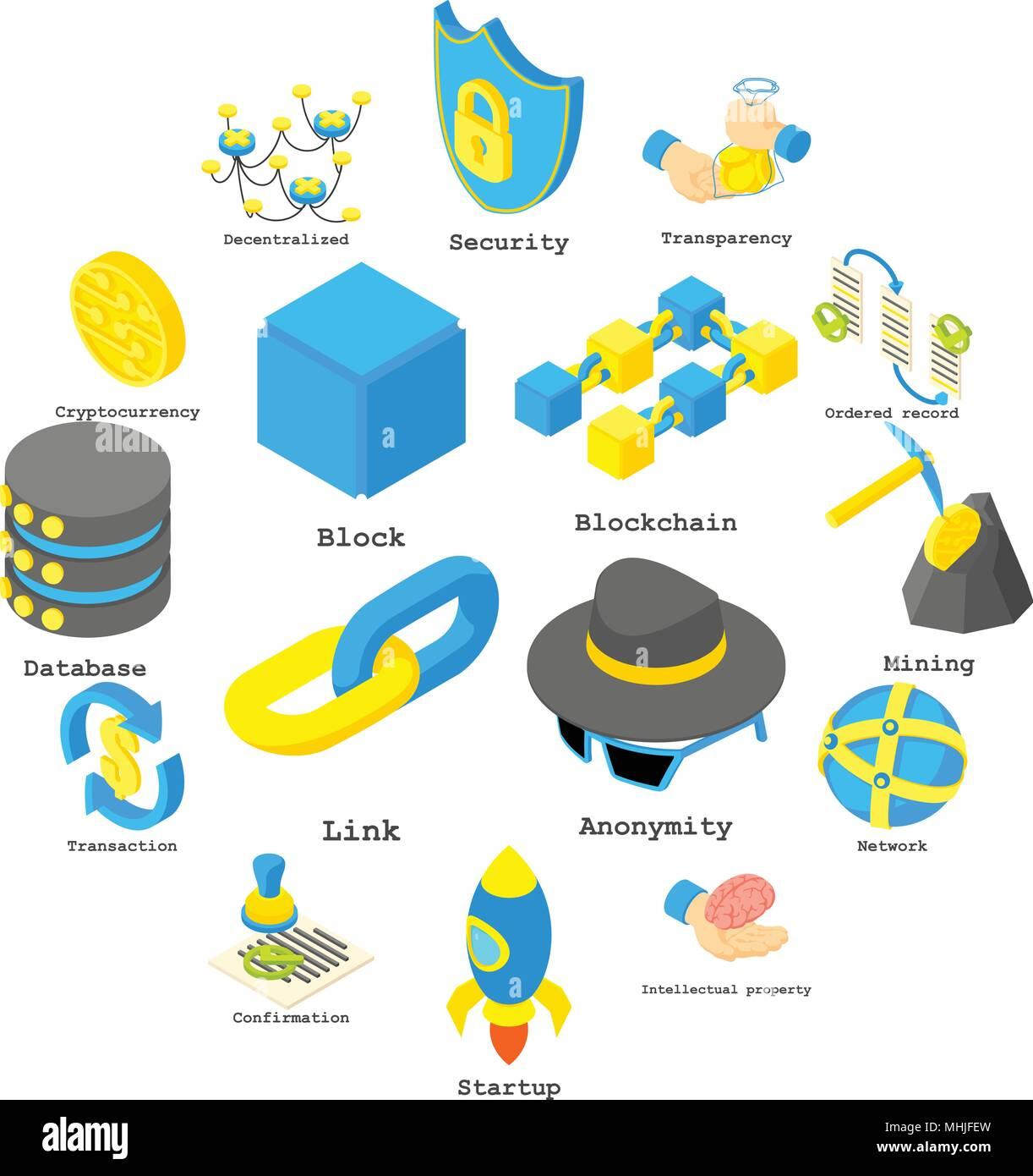 Crypto Blockchain dinero estilo isométrico, conjunto de iconos Imagen De Stock