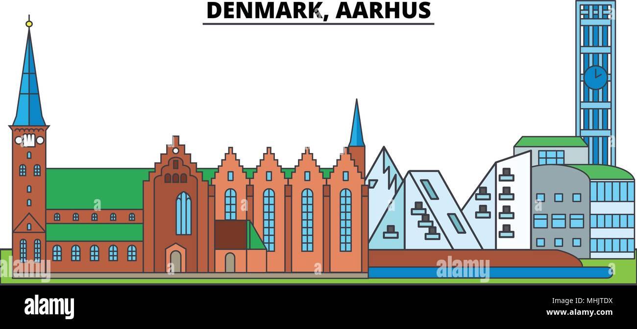 Dinamarca, Aarhus. El horizonte de la ciudad, arquitectura, edificios, calles, silueta, paisaje, panorama, monumentos. Trazos editable. Línea de diseño plano ilustración vector concepto. Iconos aislados Ilustración del Vector