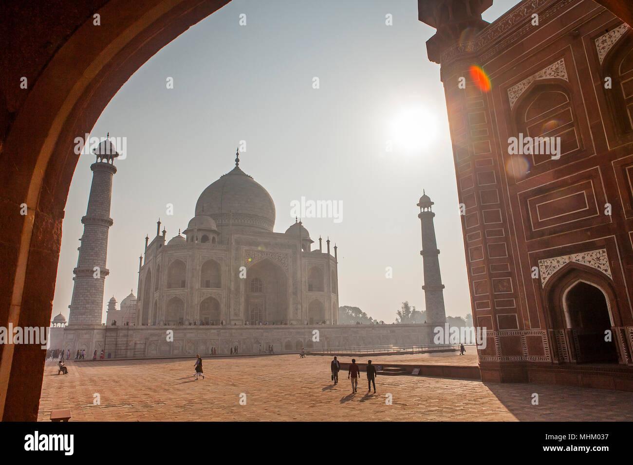 Taj Mahal, Patrimonio Mundial de la UNESCO, Agra, Uttar Pradesh, India Imagen De Stock