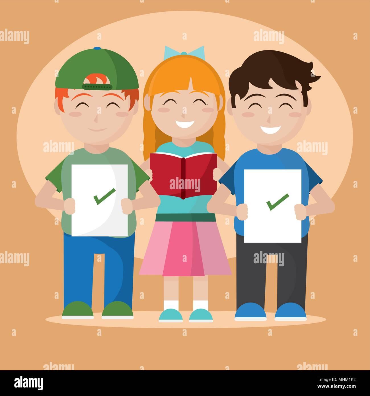 Estudiantes De La Escuela De Dibujos Animados Ilustración Del Vector