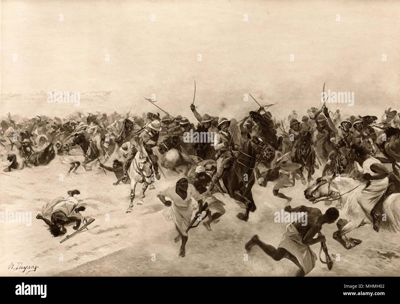 Batalla de Omdurman : la carga de los Lancers Fecha: 2 de septiembre de 1898 Foto de stock