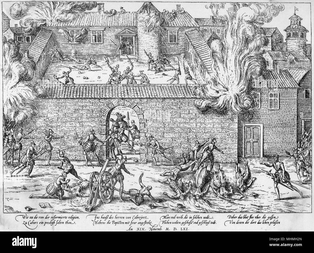 La masacre de los hugonotes en Cahors Fecha: 1562 Foto de stock
