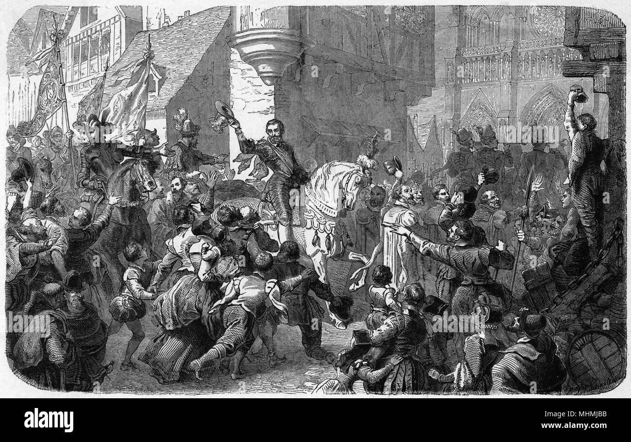 HENRI IV bautizado como católico - para aplacar a sus oponentes, Henri IV se compromete a ser bautizado como católico, y paseos por las calles de la catedral de Notre-Dame para ese fin Fecha: 1594 Foto de stock