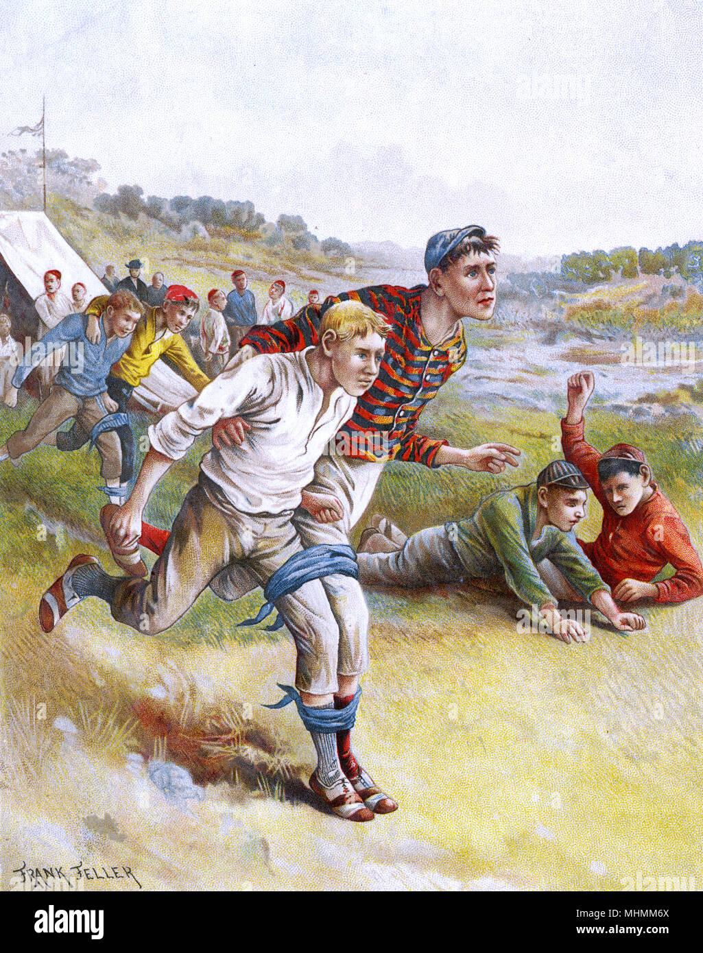 Un 'tres patas' race - pidiendo la perfecta coordinación entre la pareja de corredores, que dos de nuestros concursantes evidentemente no lograr ! Fecha: circa 1900 Foto de stock
