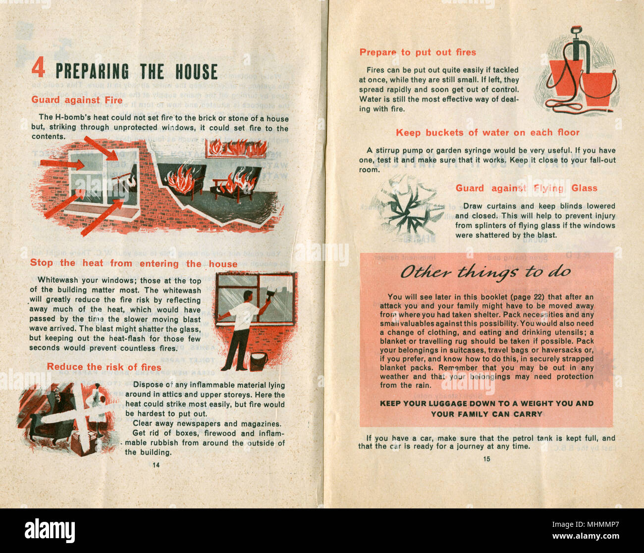 Defensa Civil manual proporciona instrucciones sobre la preparación de la casa en caso de un ataque. Imagen De Stock