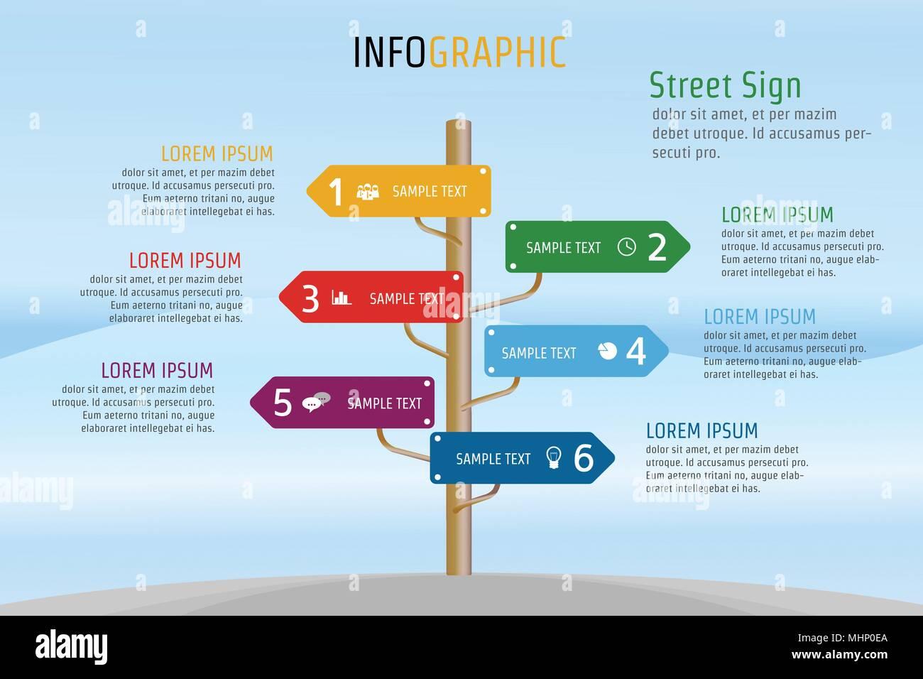 3d9fd45739ad7 Ilustración vectorial Infografía calle signo de plantilla de diseño para  presentaciones