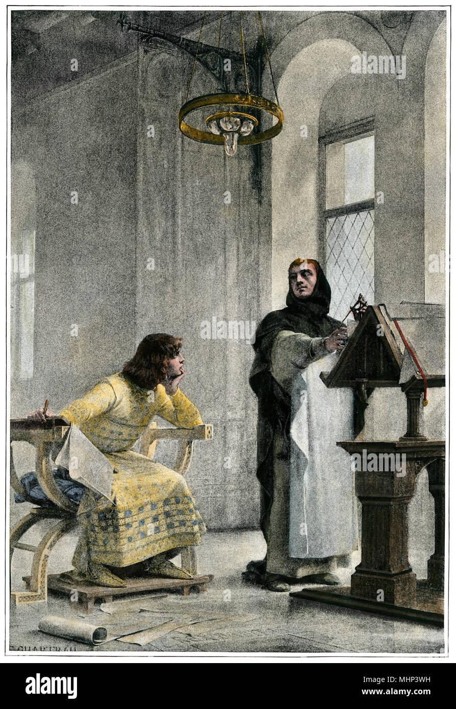 La educación de Luis IX (San Luis), rey de Francia. Mano de color halftone de ilustración. Foto de stock