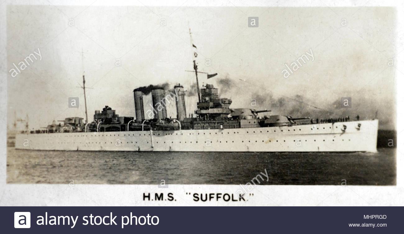 H.M.S Suffolk, un heavy cruiser encargado por la Royal Navy en 1928. Foto de stock