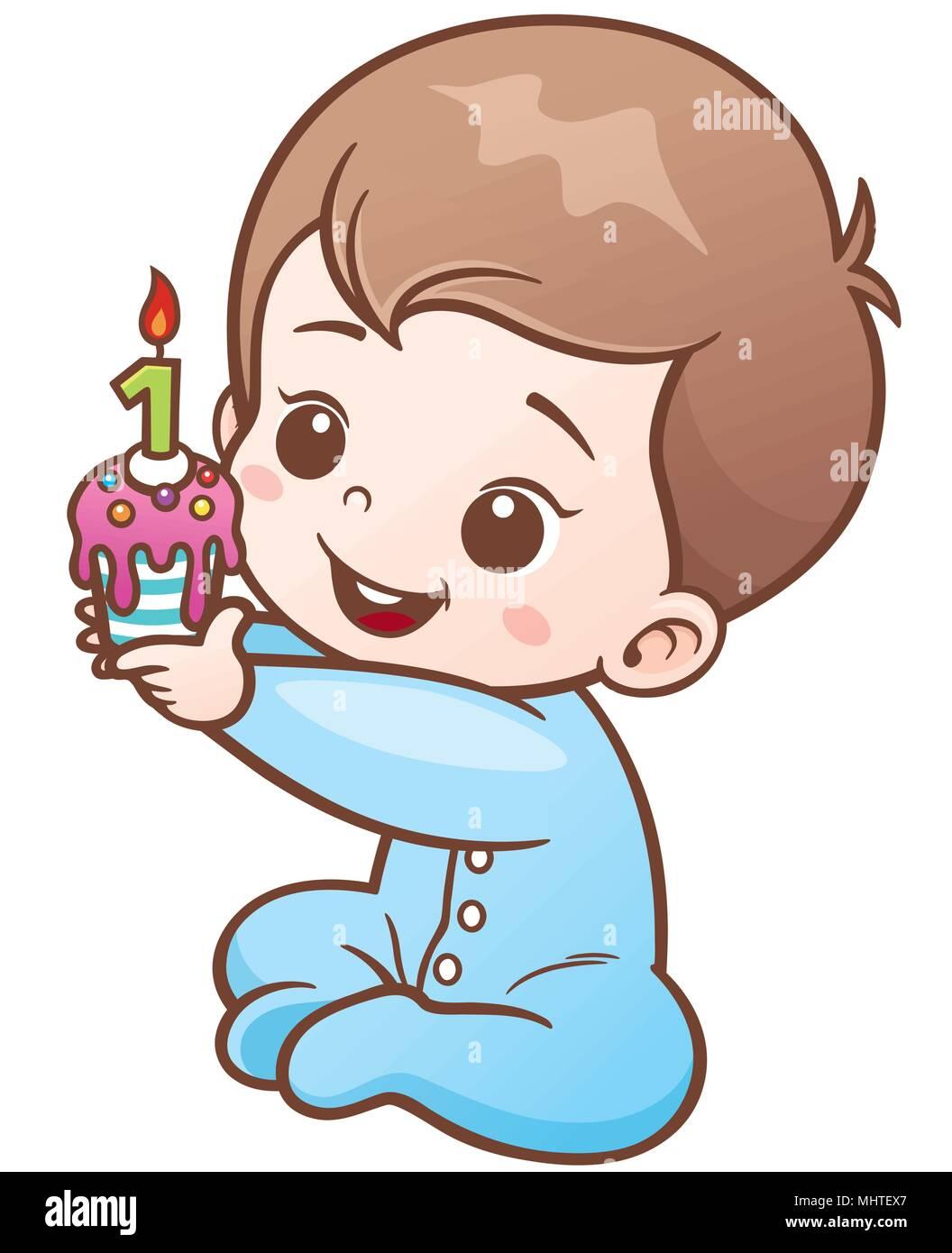 097451d4c Ilustración vectorial de dibujos animados lindo Bebe aguantando el pastel  de cumpleaños de un año. Disponible para cualquier proyecto