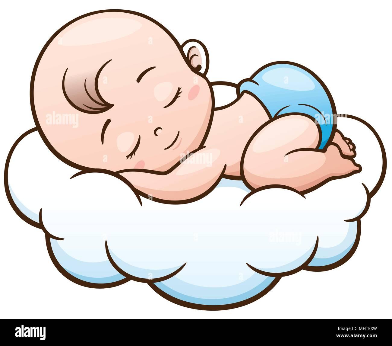 Ilustración Vectorial De Dibujos Animados Bebe Durmiendo En Una Nube Imagen Vector De Stock Alamy