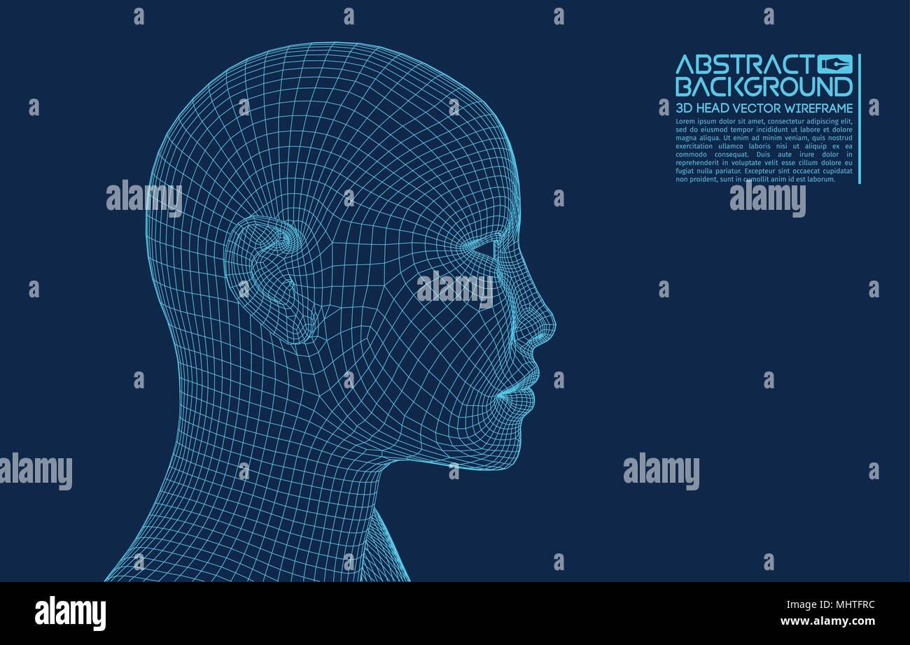 Ai cerebro digital. Concepto de inteligencia artificial. Cabeza humana en robot equipo digital de interpretación. Concepto de cabeza de trama. Imagen De Stock