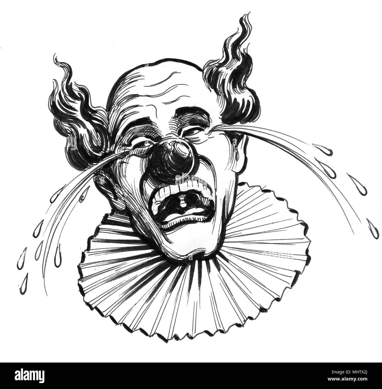Llorando Payaso Ilustración En Blanco Y Negro De Tinta Foto