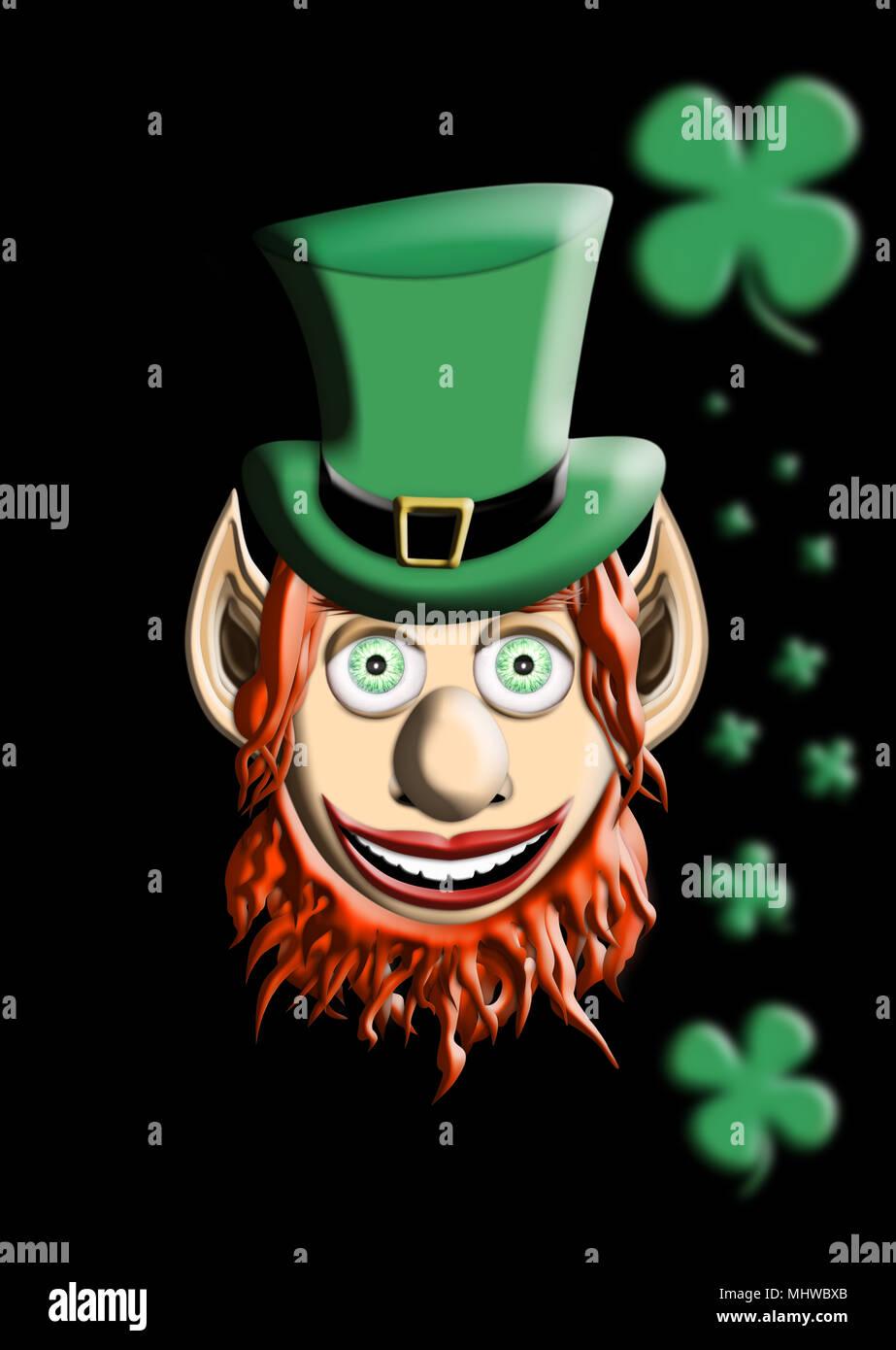 El Día de San Patricio. Duende Con sombrero verde aislado de trébol de  cuatro hojas sobre fondo negro 3D ilustración 1e3ce55a248