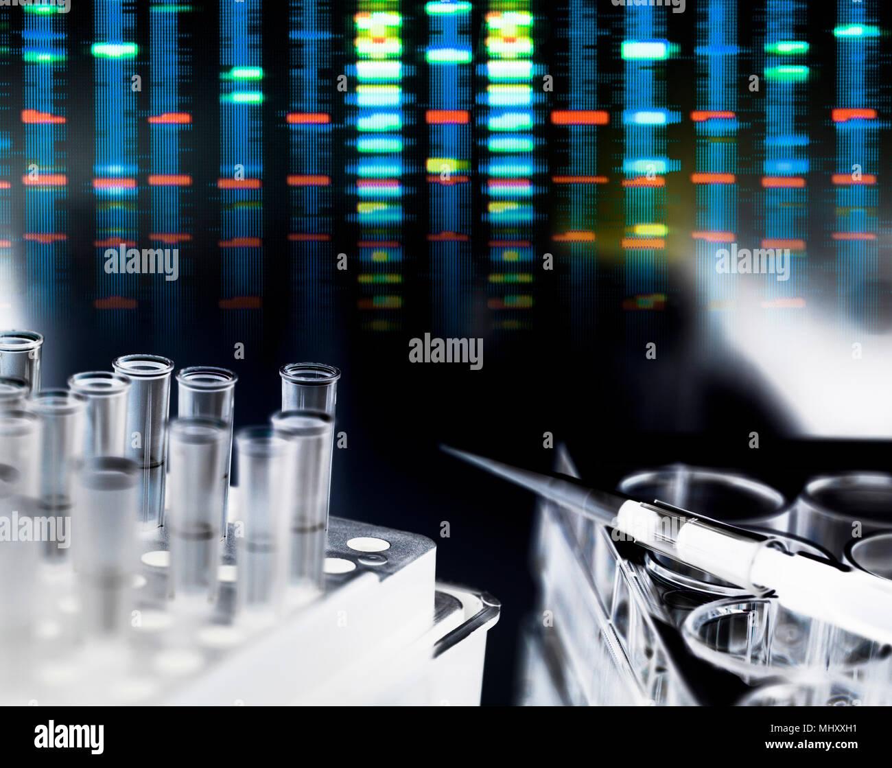 Pipeta sobre placa de pocillos múltiples esperando muestras de ADN durante el experimento genético en laboratorio con resultados de perfil de ADN en segundo plano. Foto de stock