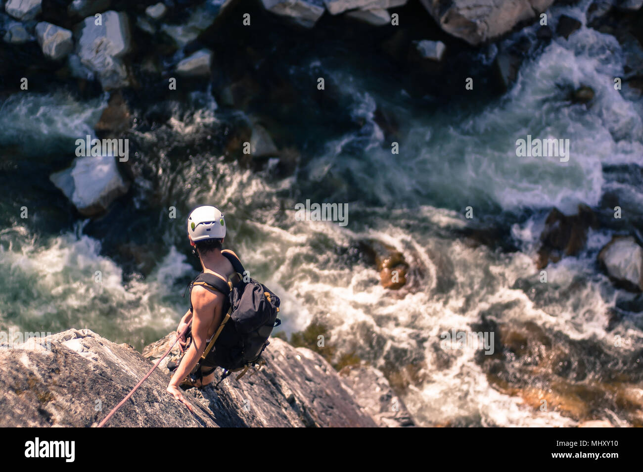 Hombre trad escalar al jefe, Squamish, Canadá Imagen De Stock