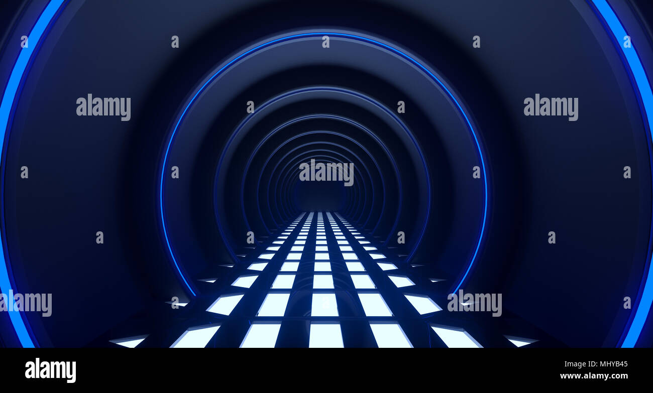 3D Rendering de círculo realista Sci-Fi corredor con luces de malla de rejilla en el suelo Imagen De Stock