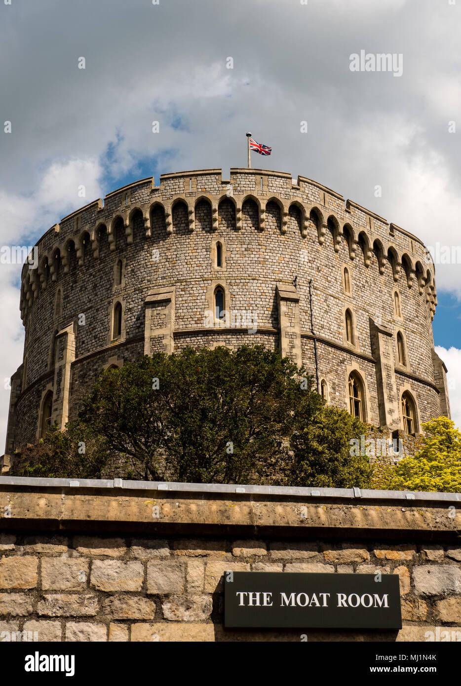 La Torre del Homenaje, Torre Redonda, El Castillo de Windsor, Windsor, Berkshire, Inglaterra, Reino Unido, GB. Foto de stock
