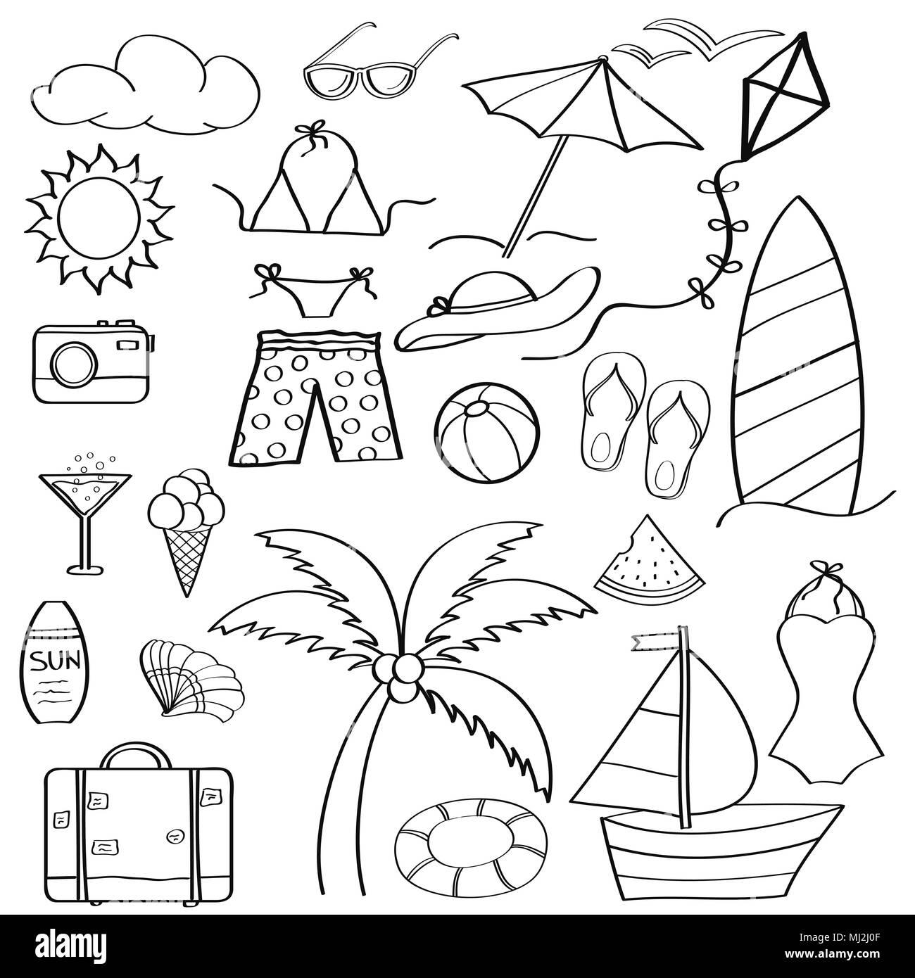 Doodle Cartoon Artículos Colección De Vacaciones De Verano Para