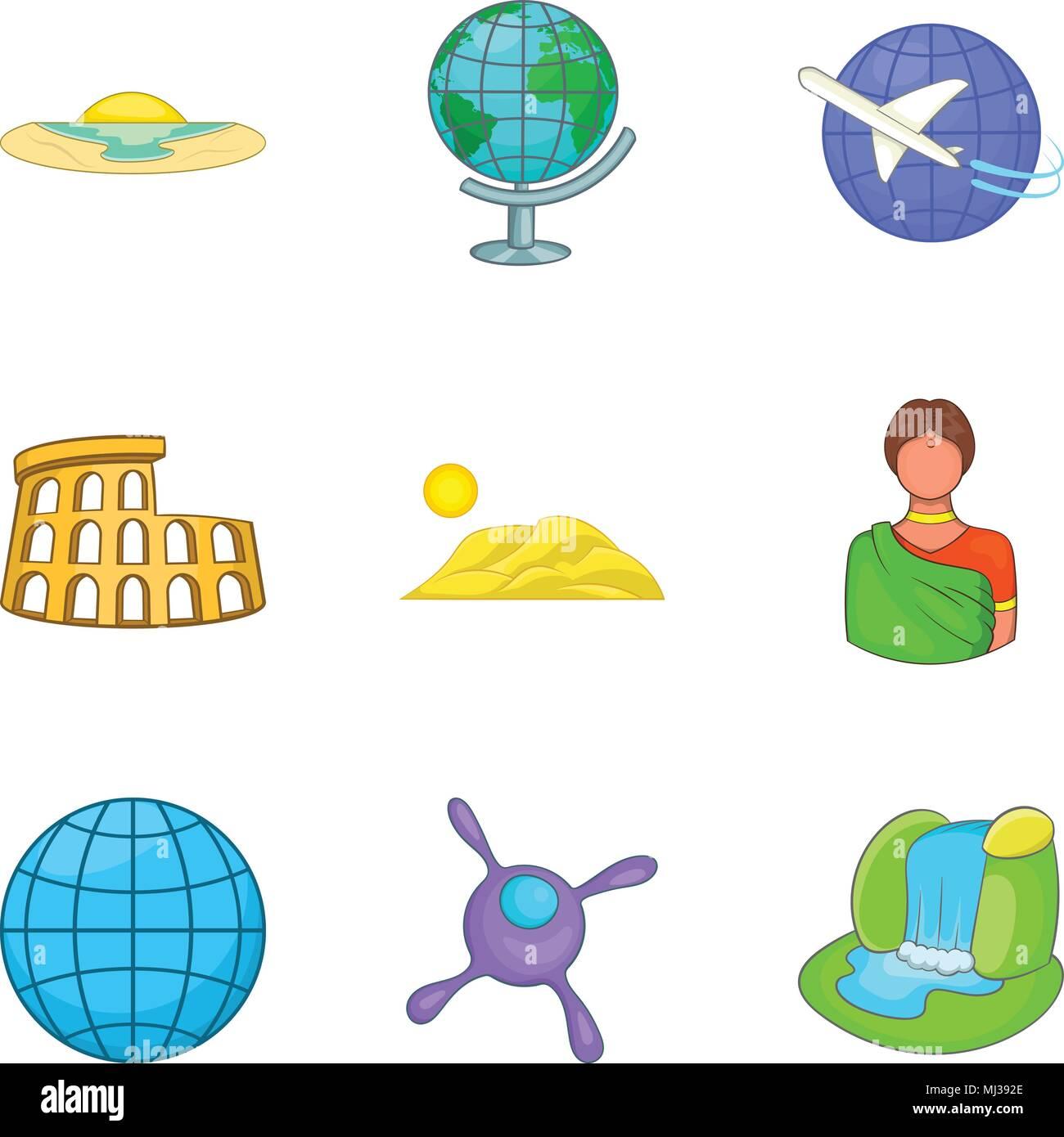 Iconos De Política Global Estilo De Dibujos Animados Ilustración