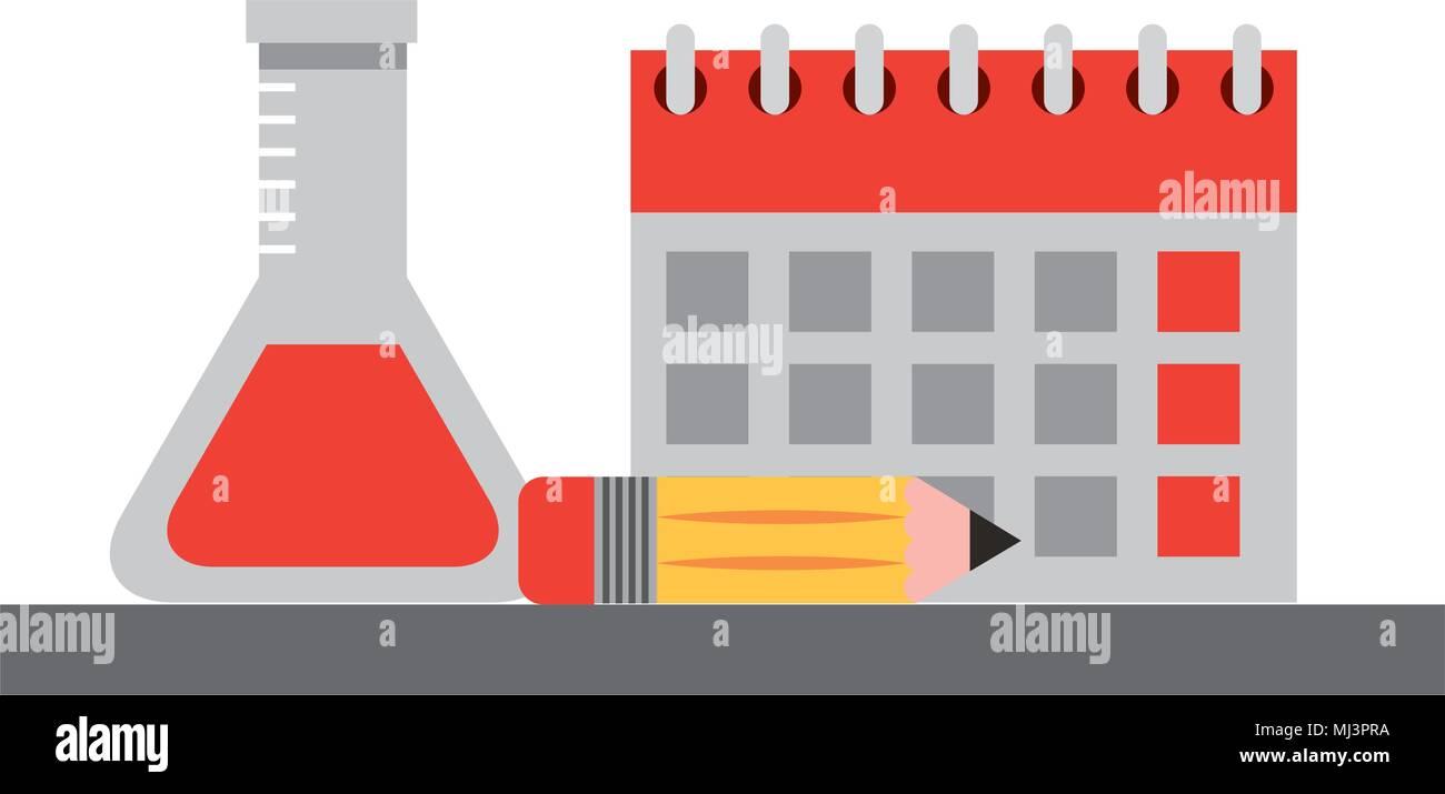 Calendario Academico Us.Calendario Escolar Tubo De Ensayo Y Lapiz Ilustracion Vectorial