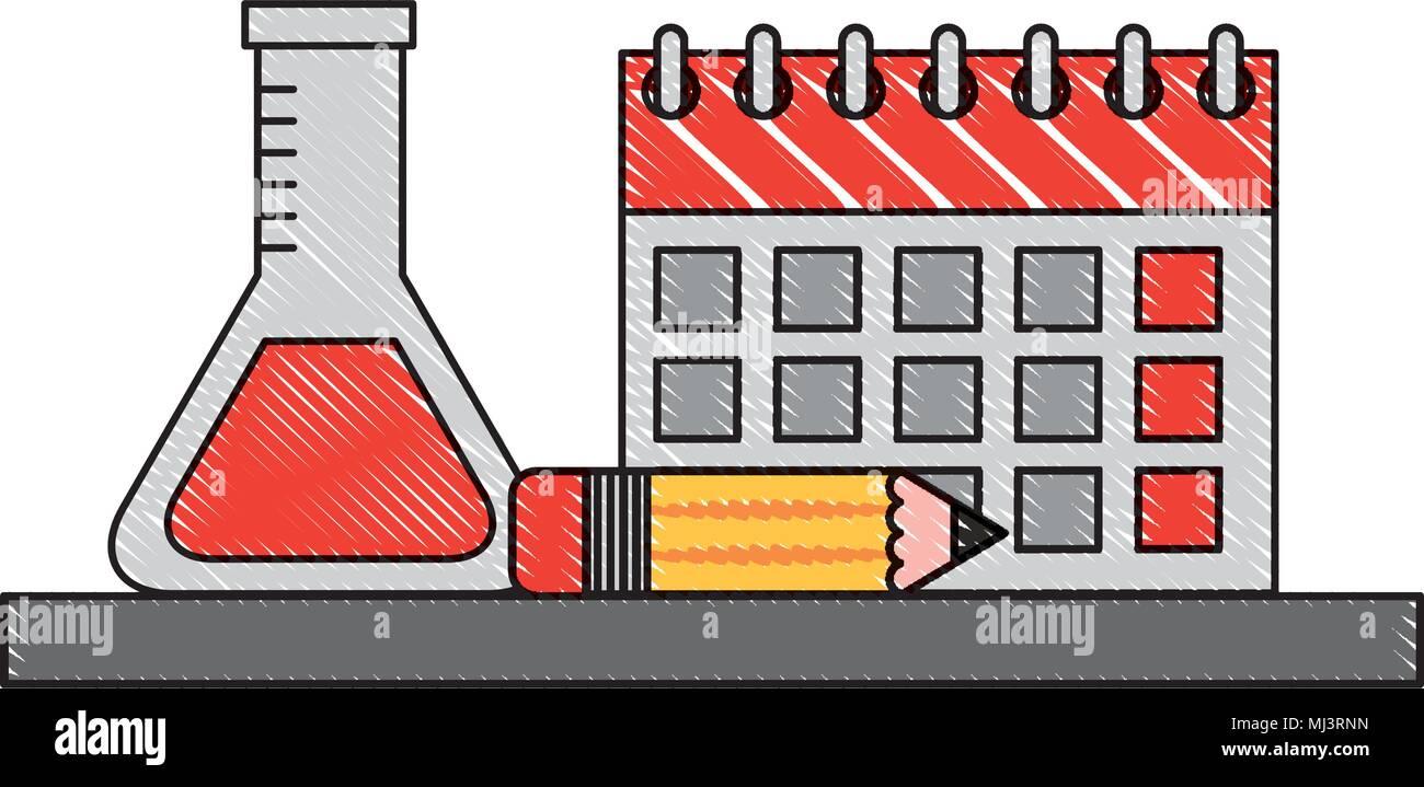 Calendario Academico Us.Calendario Escolar Tubo De Ensayo Y Lapiz De Dibujo Ilustracion