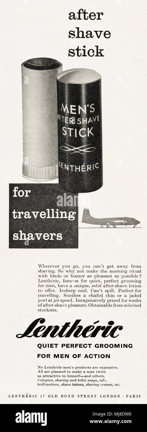 1950 Publicidad publicidad original vintage Lentheric hombres after shave  stick en la revista inglesa circa 1958 58c6f62180be