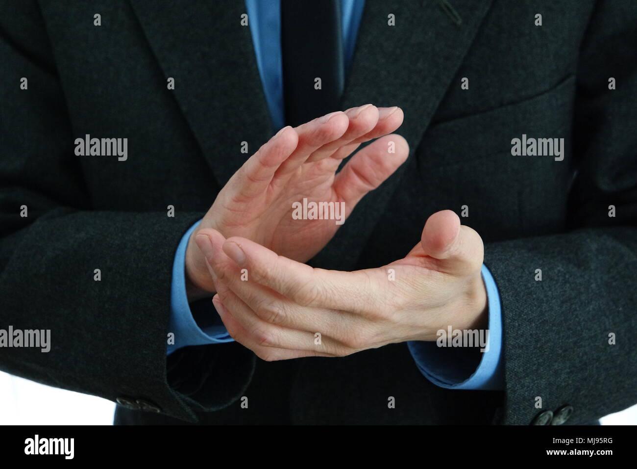 Businessmans manos aplaudiendo Foto de stock