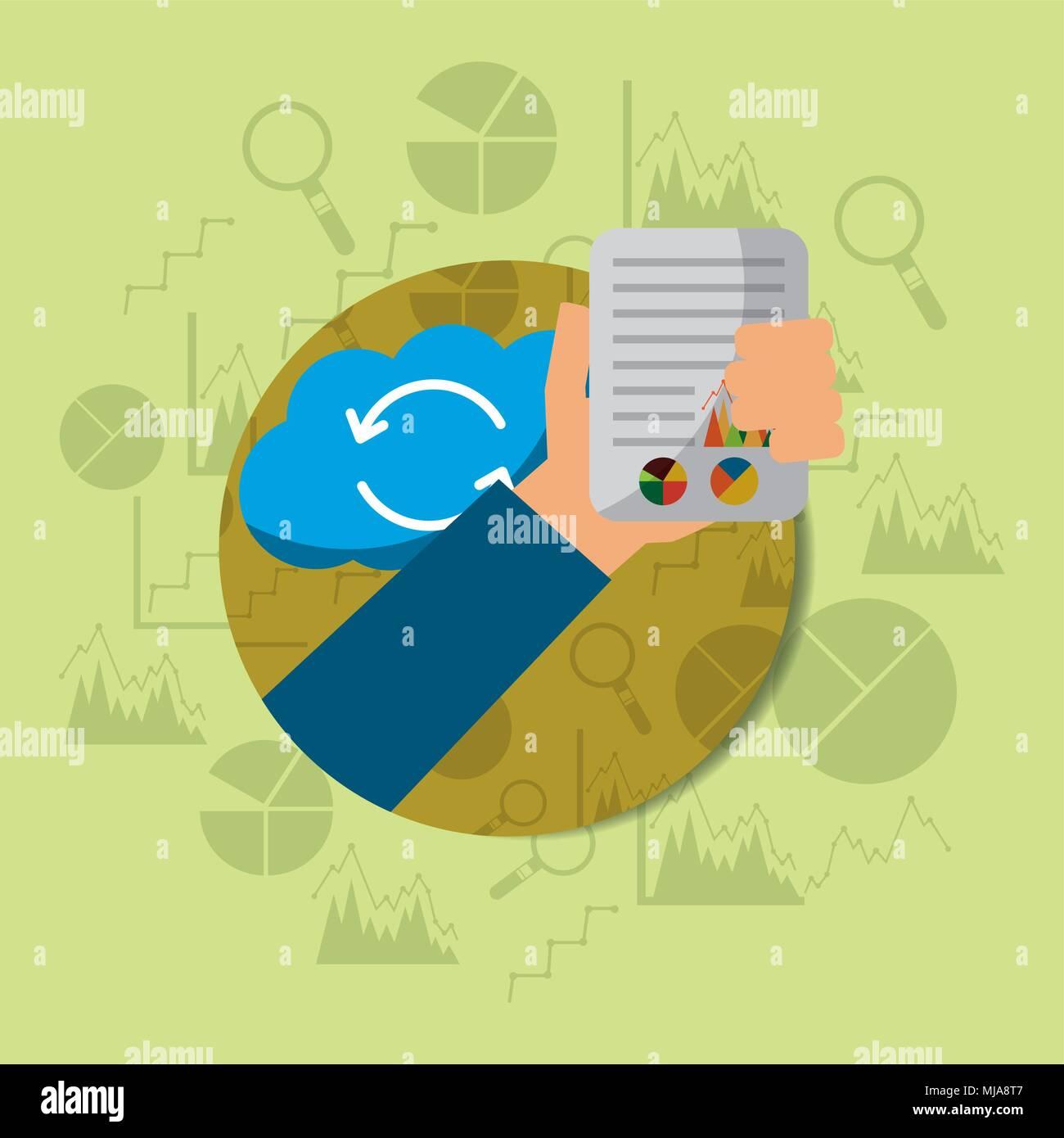Mano sujetando el documento financiero ilustración vectorial de almacenamiento en la nube Imagen De Stock