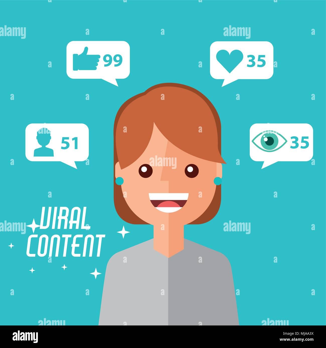 Retrato mujer cartoon contenido viral Imagen De Stock