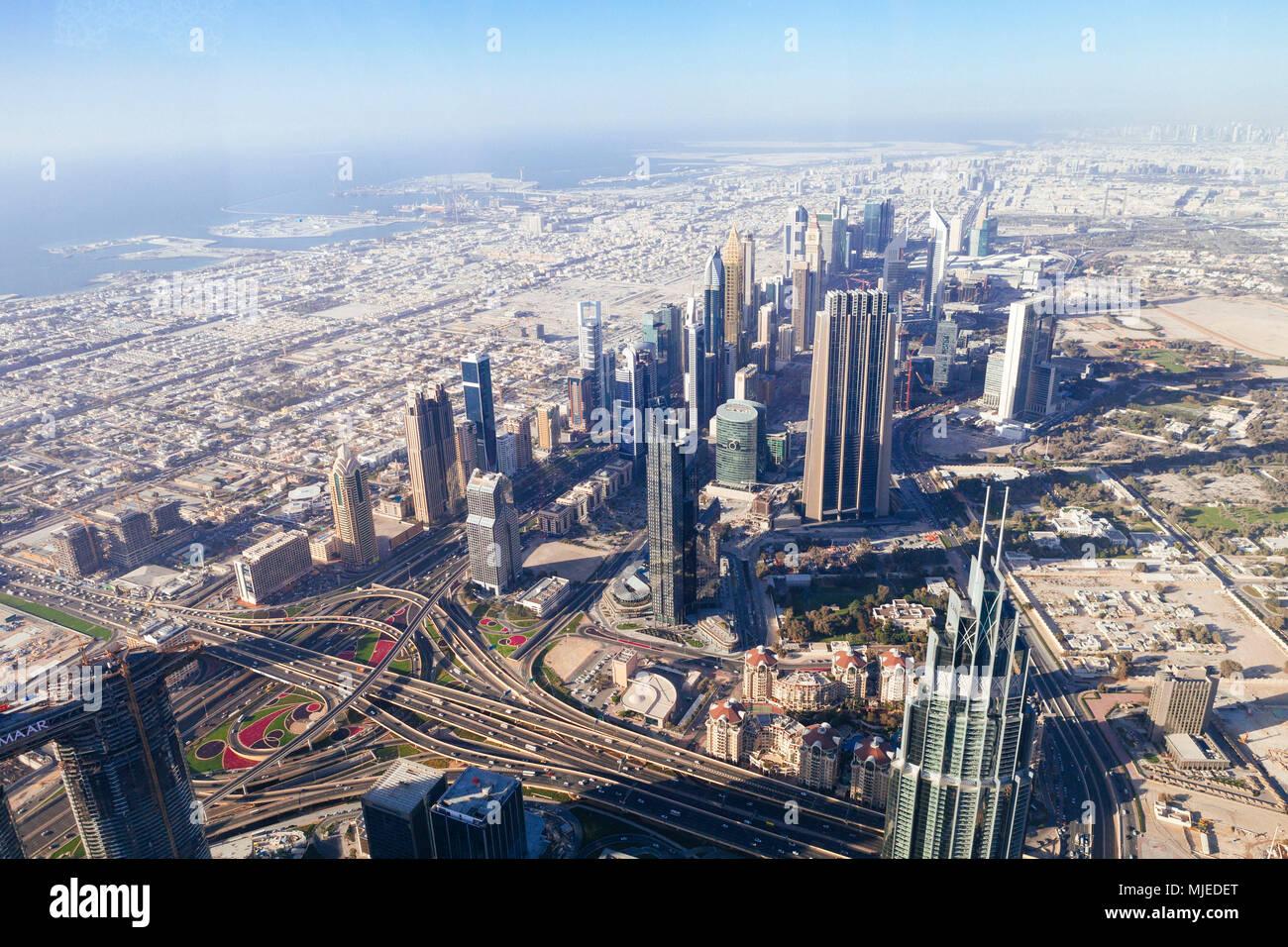 Horizonte de Dubai desde arriba Imagen De Stock