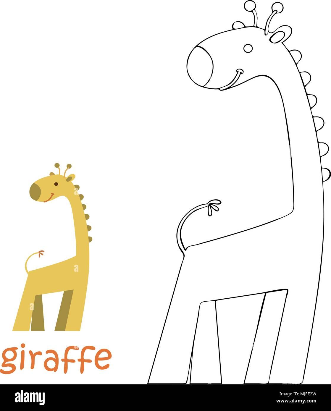 Página para colorear para niños - jirafa Ilustración del Vector ...