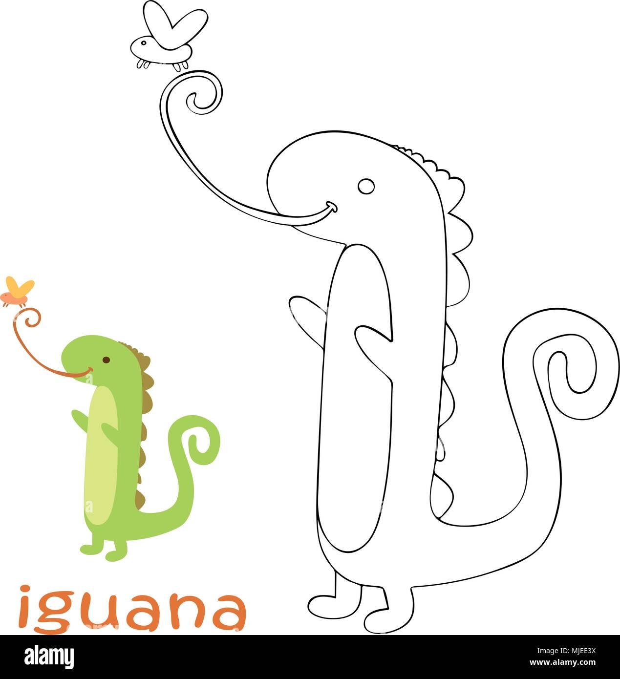 Página Para Colorear Para Niños Iguana Ilustración Del Vector
