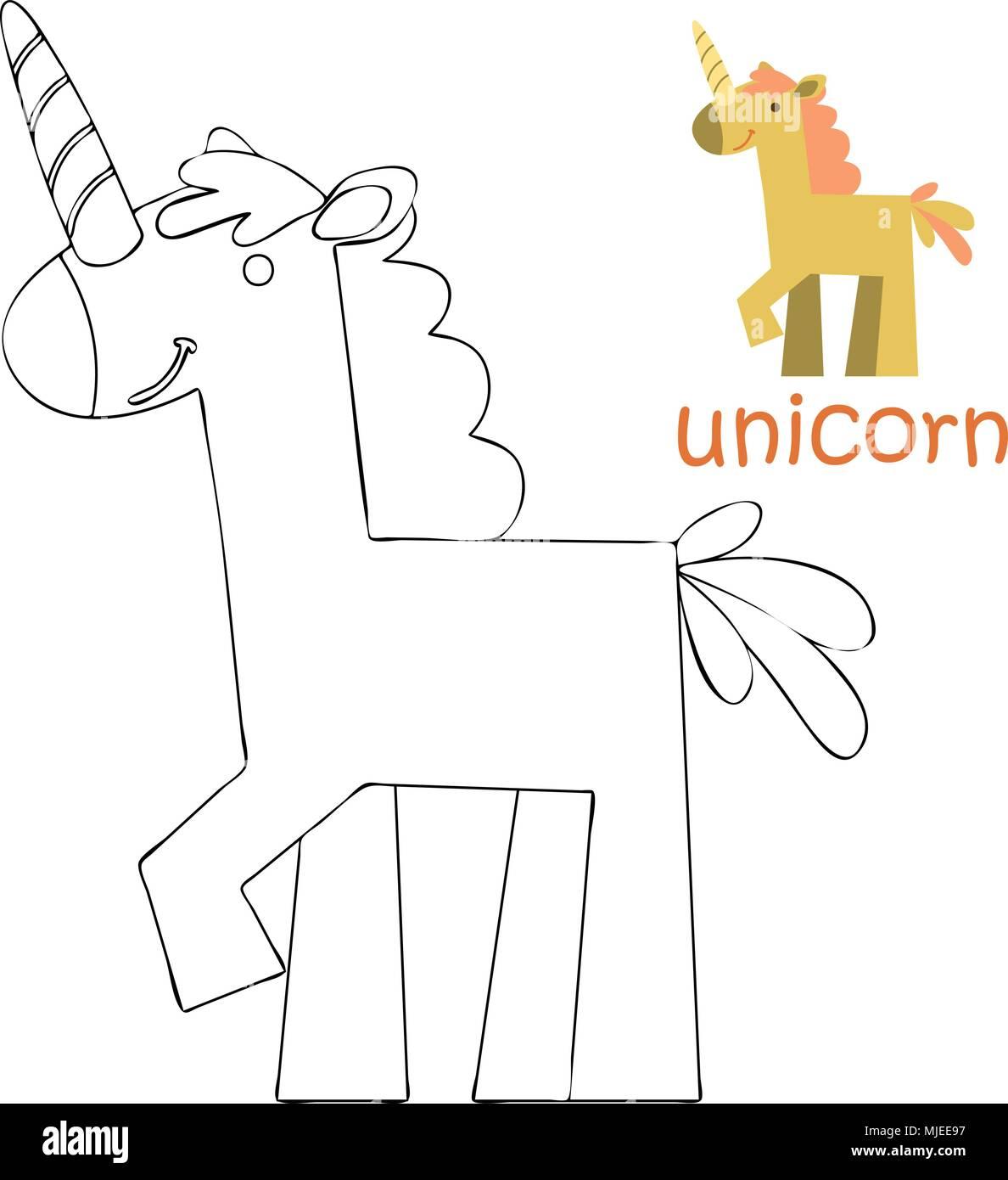 Página para colorear para niños - unicornio Ilustración del Vector ...