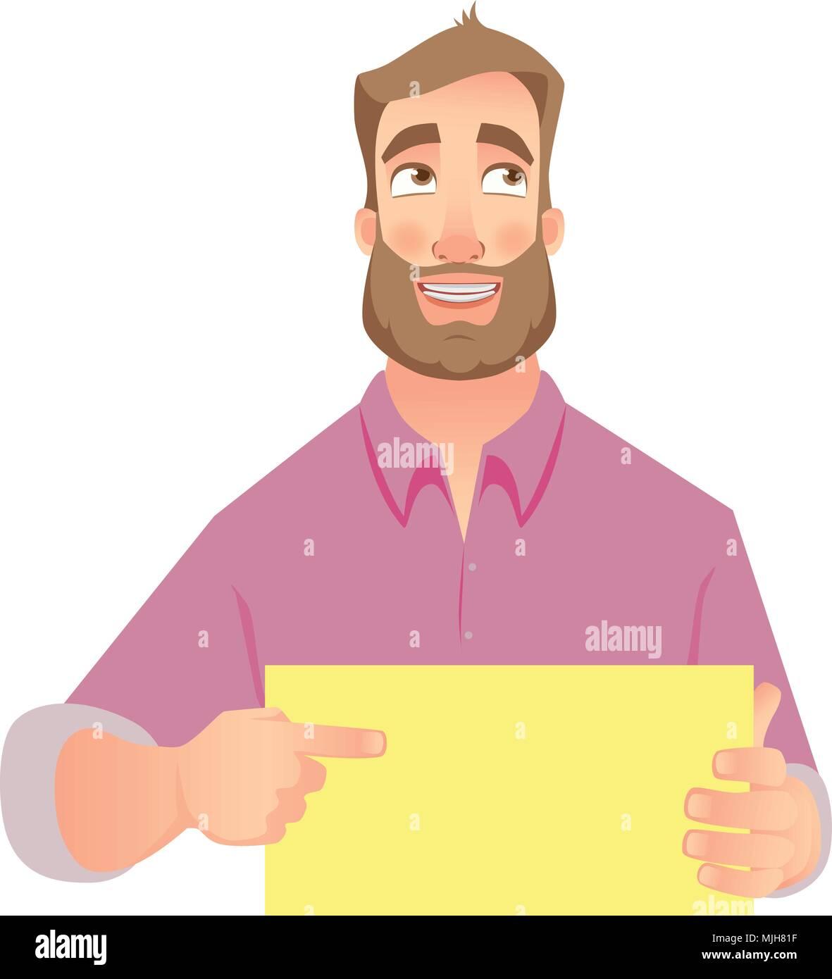 Hombre sujetando el papel en blanco Imagen De Stock