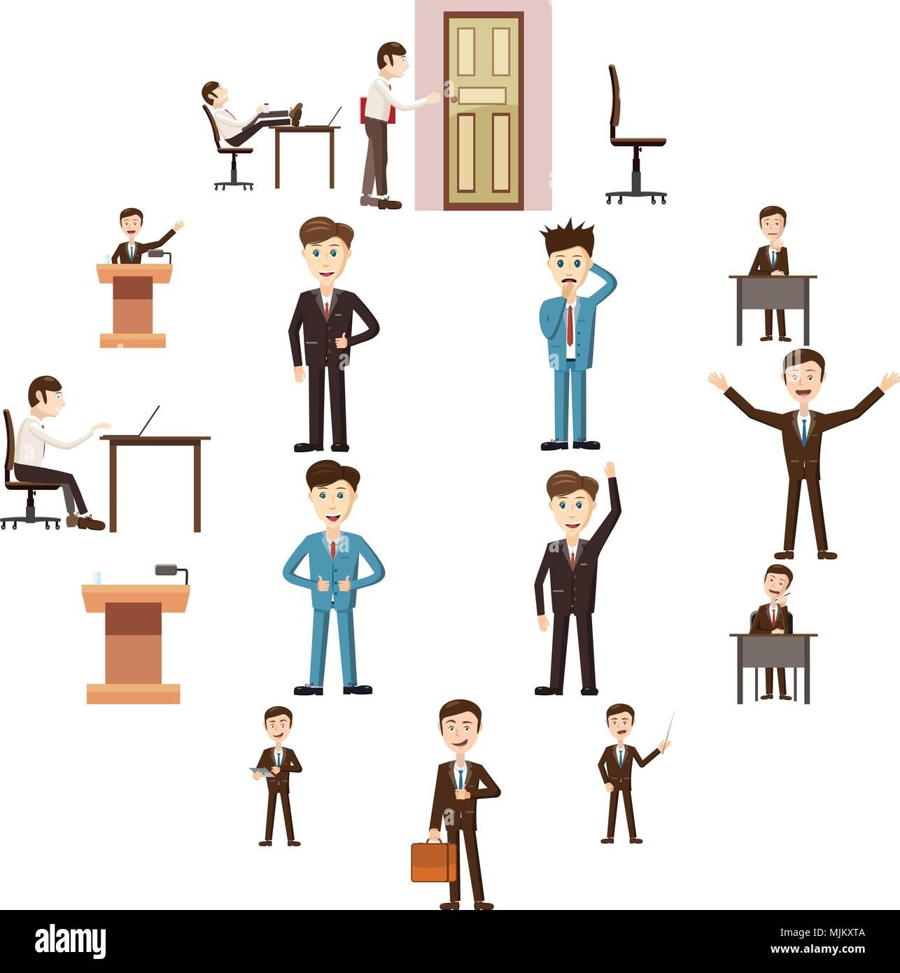 Iconos De Negocios De Estilo De Dibujos Animados La Gestión Y Los