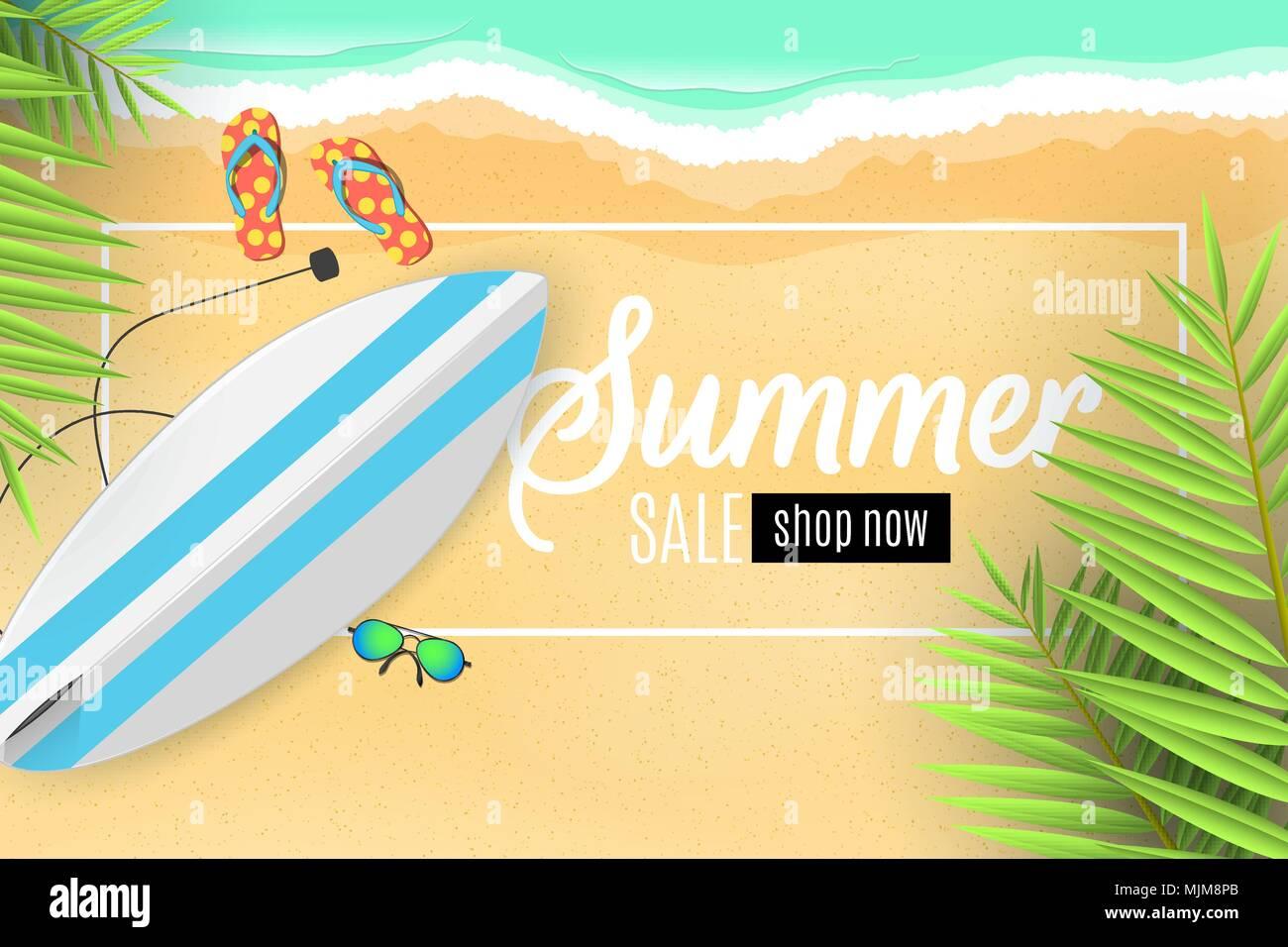 Banner De Publicidad Para La Venta De Verano Las Tablas De Surf