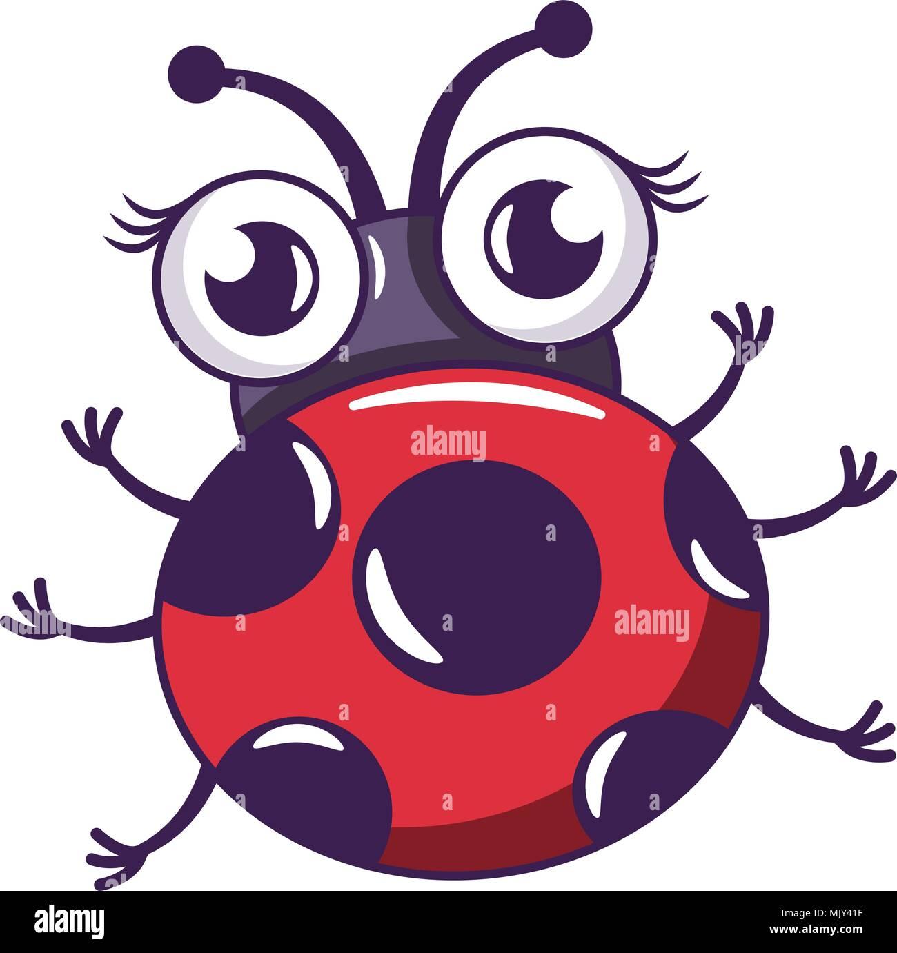 Ladybug Icono Estilo De Dibujos Animados Ilustración Del Vector