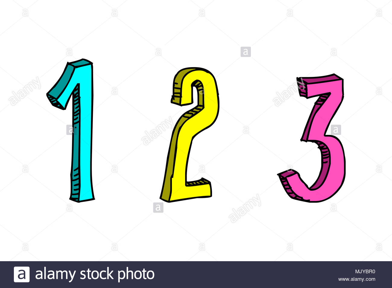Número 1 2 3 alfabeto font Imagen De Stock