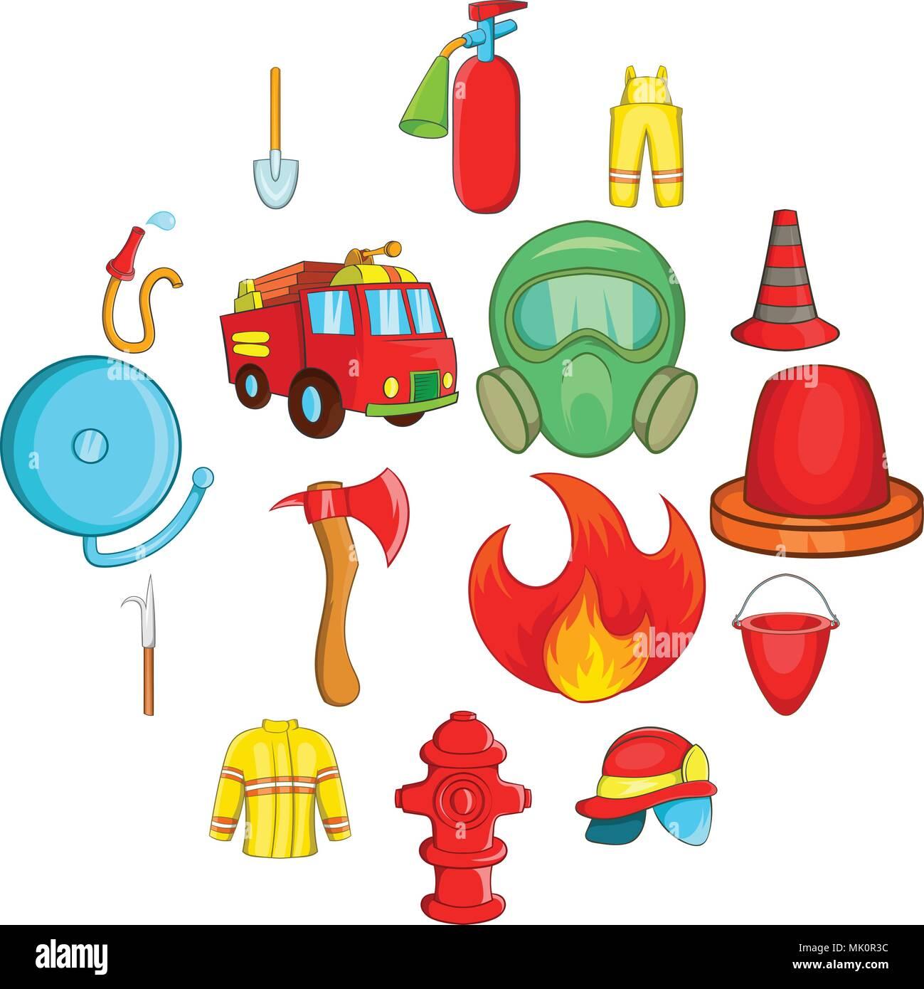 Iconos De Bombero Estilo De Dibujos Animados Ilustración