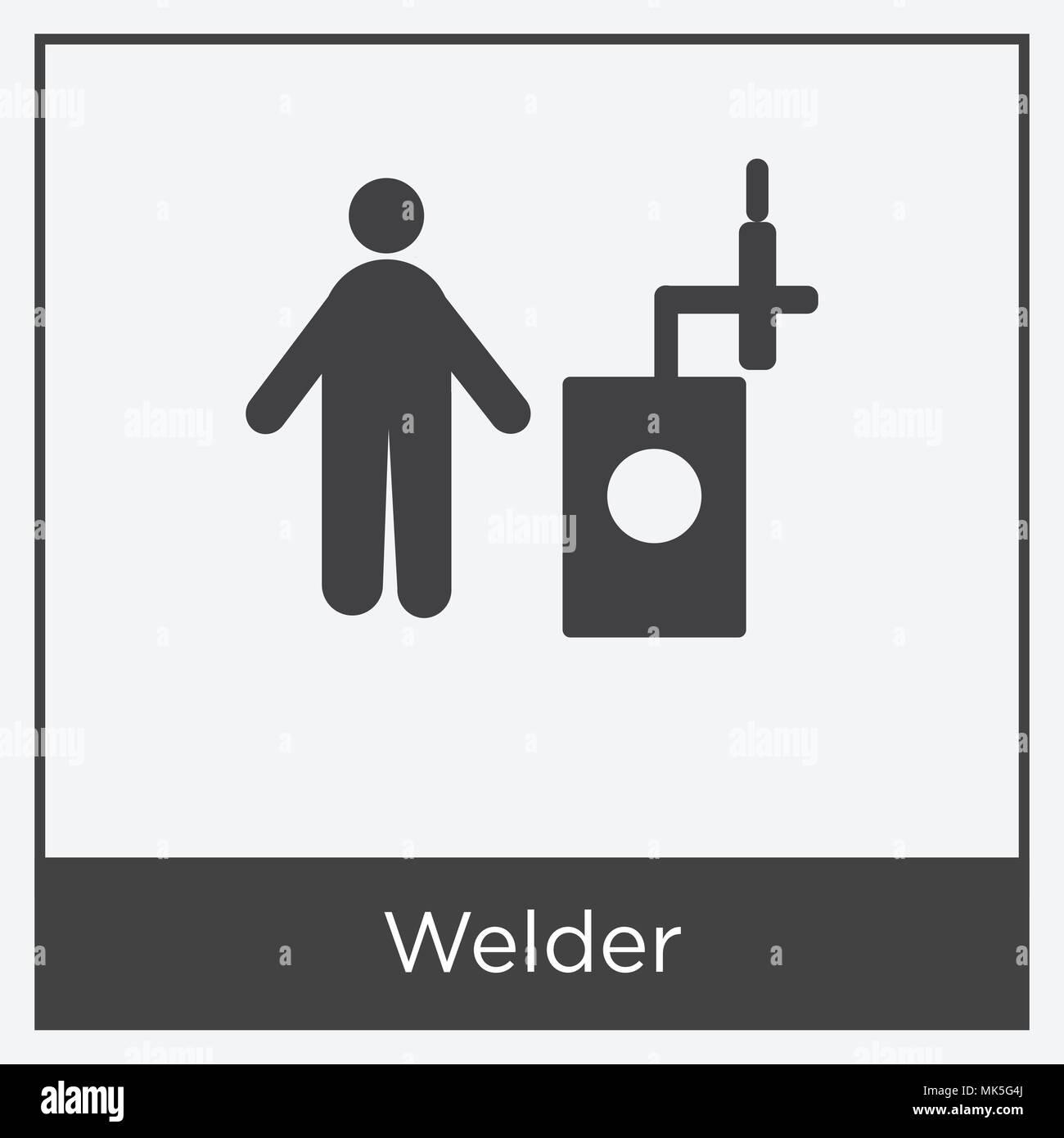 Icono de soldador aislado sobre fondo blanco con marco gris, signo y ...