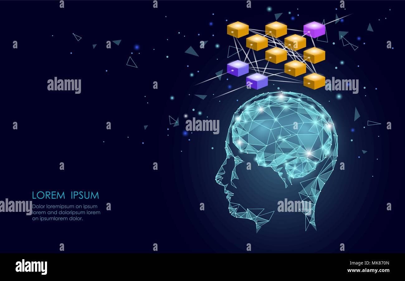 Isométrica inteligencia artificial red neuronal del cerebro humano concepto empresarial. Azul brillante de conexión de datos personales la tecnología del futuro. Ilustración vectorial infografía 3D Imagen De Stock