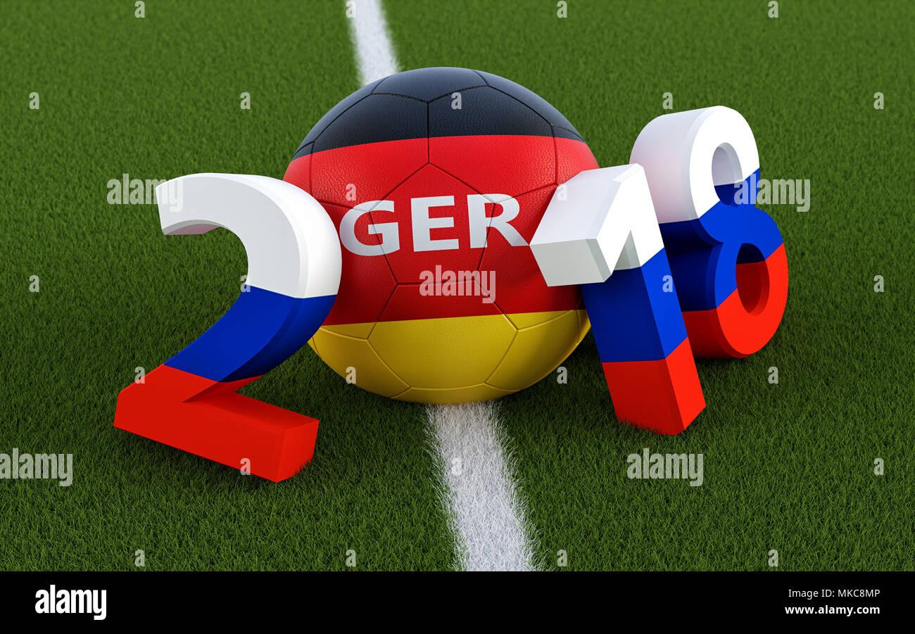 En 2018 los colores de la bandera rusa en un campo de fútbol. Una pelota d7893a8ce3c5f