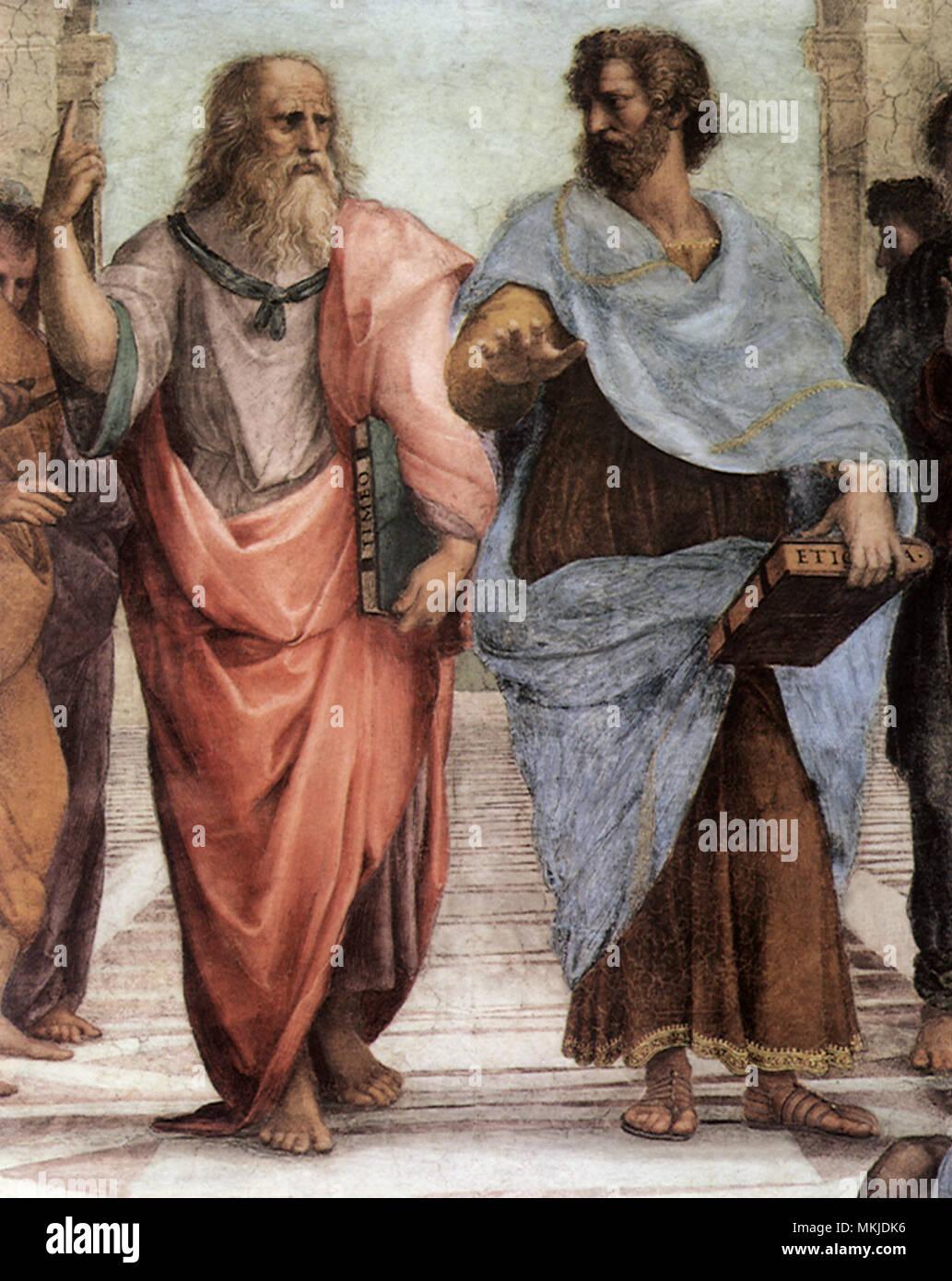 La escuela de Atenas, Platón y Aristóteles, 1520 Foto de stock