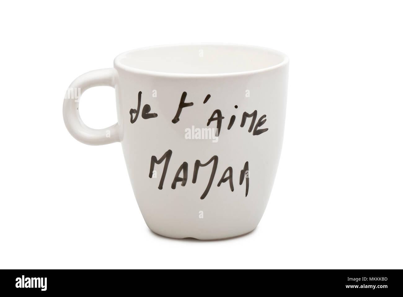 Te Amo Mamá En Francés Texto En Blanco Mug Aislada Con